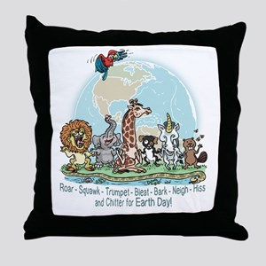 Animals for Earth Day Throw Pillow