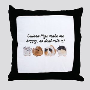 Guinea Pigs make me happy Throw Pillow