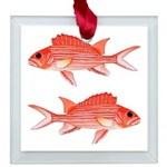 Hawaiian Squirrelfish Square Glass Ornament