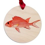 Hawaiian Squirrelfish Maple Round Ornament