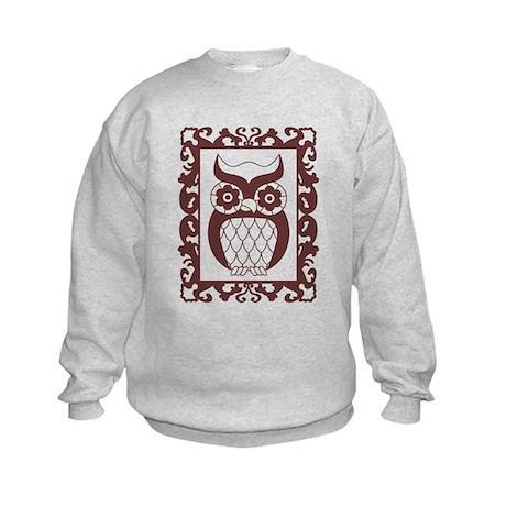 Retro Style Framed Owl Kids Sweatshirt