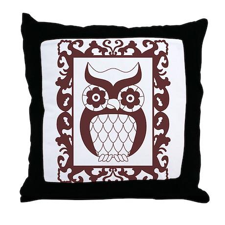 Retro Style Framed Owl Throw Pillow