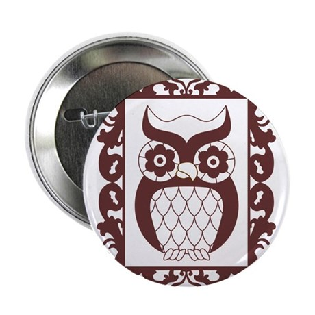 "Retro Style Framed Owl 2.25"" Button"