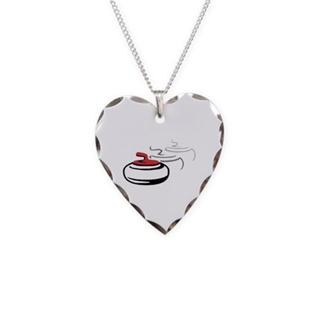 Curling Rocks Necklace Heart Charm