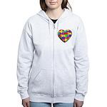 Jelly Puzzle Heart Women's Zip Hoodie