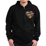 Jelly Puzzle Heart Zip Hoodie (dark)