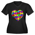 Jelly Puzzle Heart Women's Plus Size V-Neck Dark T