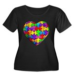 Jelly Puzzle Heart Women's Plus Size Scoop Neck Da