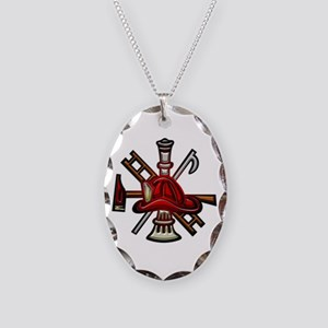 Firefighter/Rescue Tools Necklace Oval Charm
