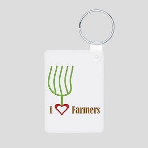 I Heart Farmers Aluminum Photo Keychain