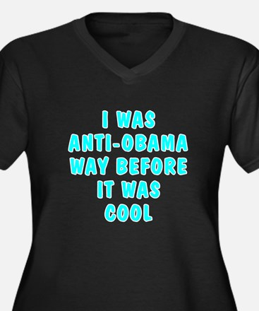 I was anti-Obama Women's Plus Size V-Neck Dark T-S