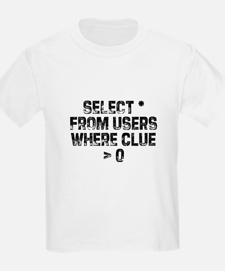 SELECT * FROM users WHERE clu Kids T-Shirt