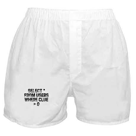 SELECT * FROM users WHERE clu Boxer Shorts