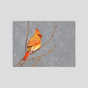 Cardinal on Branch 5'x7'Area Rug