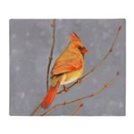 Cardinal on Branch Throw Blanket