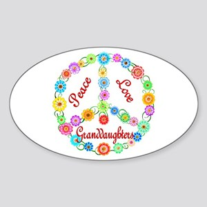 Peace Love Granddaughters Sticker (Oval)