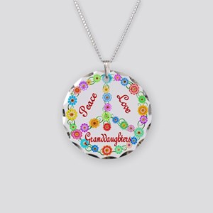 Peace Love Granddaughters Necklace Circle Charm