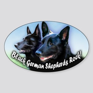 Black German Shepherds Rock Sticker (Oval)
