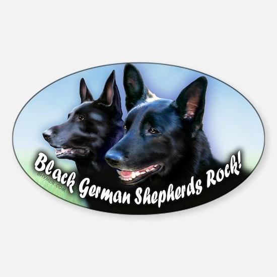 Black German Shepherds Rock Sticker (Oval)