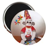 "Ernie the Sock Monkey B'day 2.25"" Magnet (100"