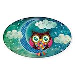 My Crescent Owl Sticker (Oval 10 pk)