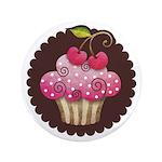 "Cherry Berry Cupcake 3.5"" Button"