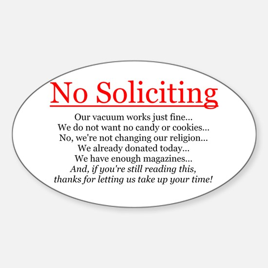 No Soliciting Sticker (Oval)
