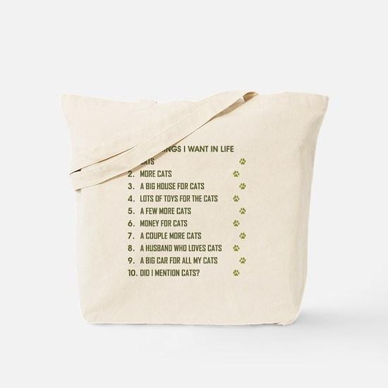 TEN THINGS I WANT... Tote Bag