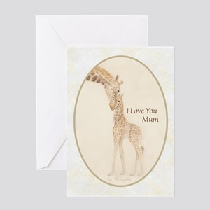 mom & baby giraffe Greeting Card