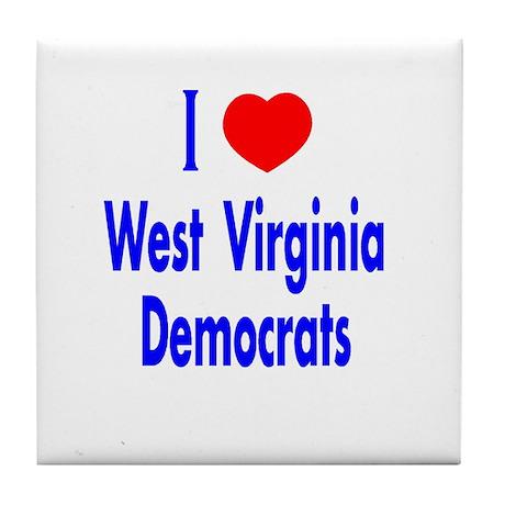 I Love West Virginia Democrat Tile Coaster