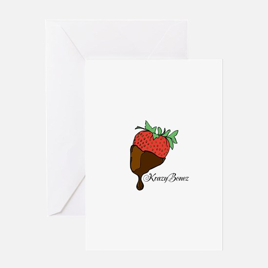 A chocolate covered strawberry Greeting Cards