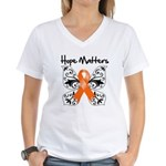 Hope Matters Leukemia Women's V-Neck T-Shirt