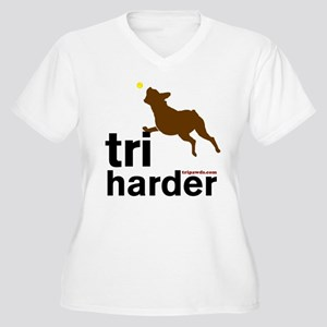 Tri Harder Boxer Women's Plus Size V-Neck T-Shirt