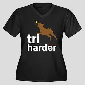 Tri Harder Boxer Women's Plus Size V-Neck Dark T-S