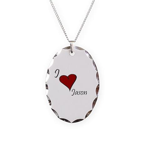 I love Jason Necklace Oval Charm