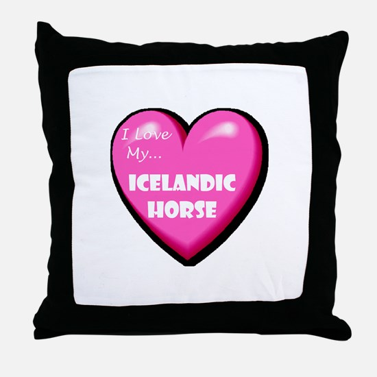 I Love My Icelandic Horse Throw Pillow