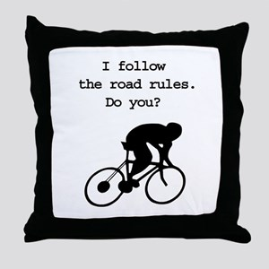 Road rules cycling Throw Pillow
