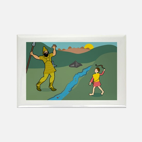 David and Goliath Rectangle Magnet