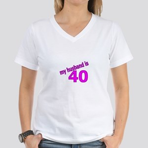Funny Husband Is 40 Gifts Women's V-Neck T-Shirt