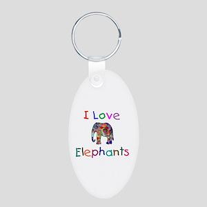 I Love Elephants Aluminum Oval Keychain