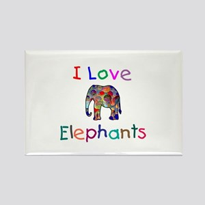 I Love Elephants Rectangle Magnet