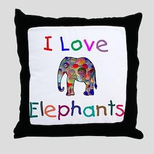 I Love Elephants Throw Pillow