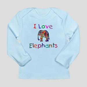 I Love Elephants Long Sleeve Infant T-Shirt