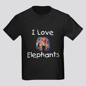 I Love Elephants Kids Dark T-Shirt