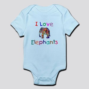 I Love Elephants Infant Bodysuit