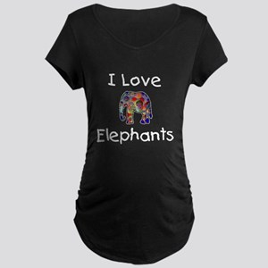 I Love Elephants Maternity Dark T-Shirt