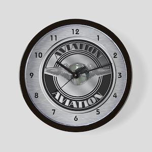 Retro Aviation Badge Wall Clock