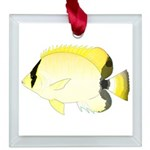 Reef Butterflyfish Square Glass Ornament