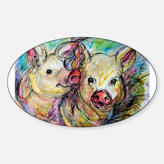 Pigs, colorful, Sticker (Oval)