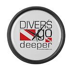 Divers go Deeper Large Wall Clock